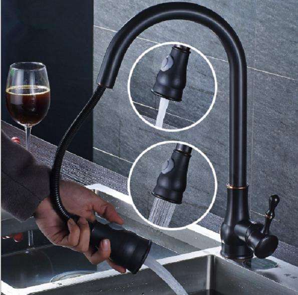 Lavello da cucina singolo foro nero girevole tirare fuori miscelatore rubinetto in ottone beccuccio rubinetto