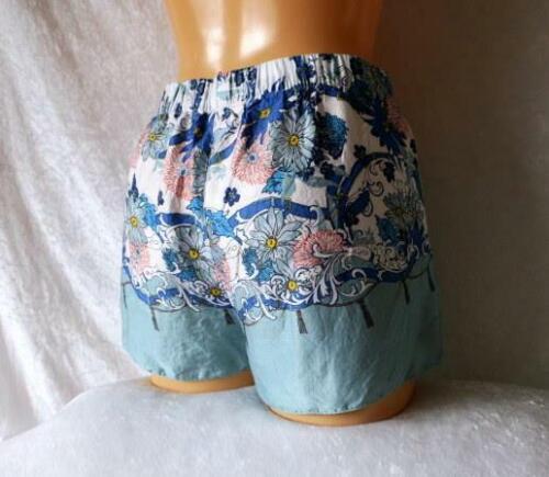 LADIES SHORTS GREEN PINK BLUE SILK SILKY SATIN LOUNGE BEACH SUMMER UK 8-16 BNWOT