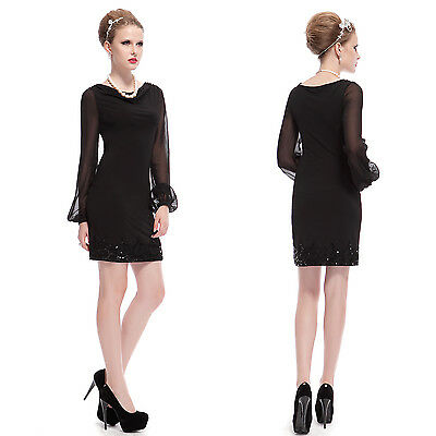 Ever Pretty Chiffon Long Sleeve Short Winter Casual Cocktail Party Dresses 03929