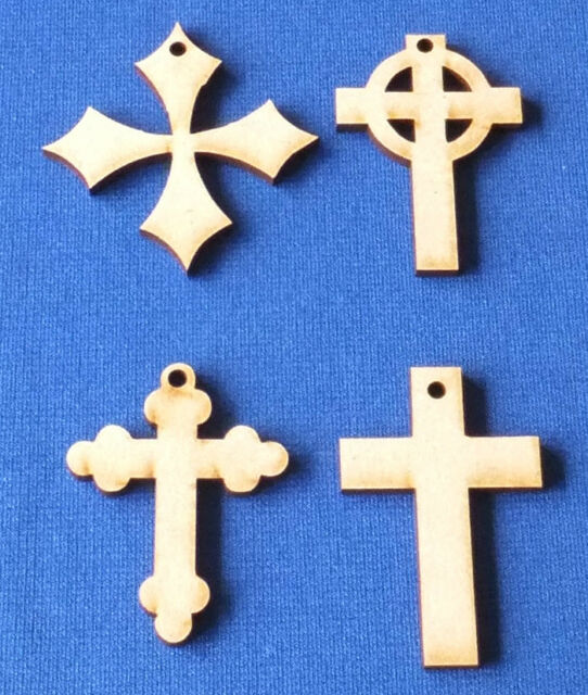 Wooden MDF Cross Craft Shapes Blanks 3mm thick MDF various designs