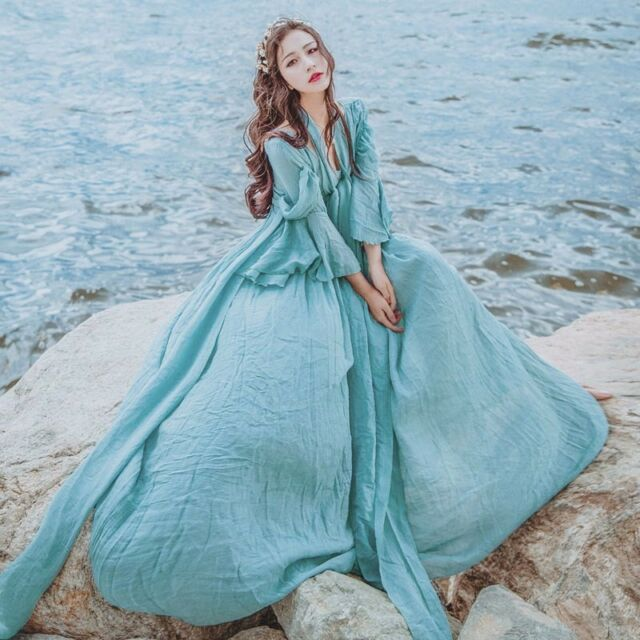 Princess Vintage V-Neck Elegant Sweet Lolita Flare Sleeve Dreamlike Fairy Dress
