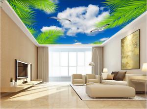 3D Green Leaf  Cloud 9 Ceiling Wall Paper Print Wall Indoor Wall Murals CA Lemon