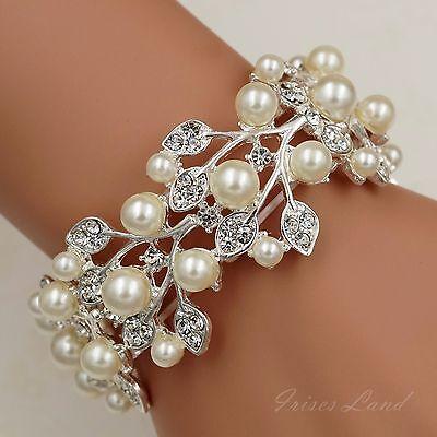 Silver Plated Pearl Clear Crystal Bridal Wedding Bangle Cuff Stretch Bracelet 96