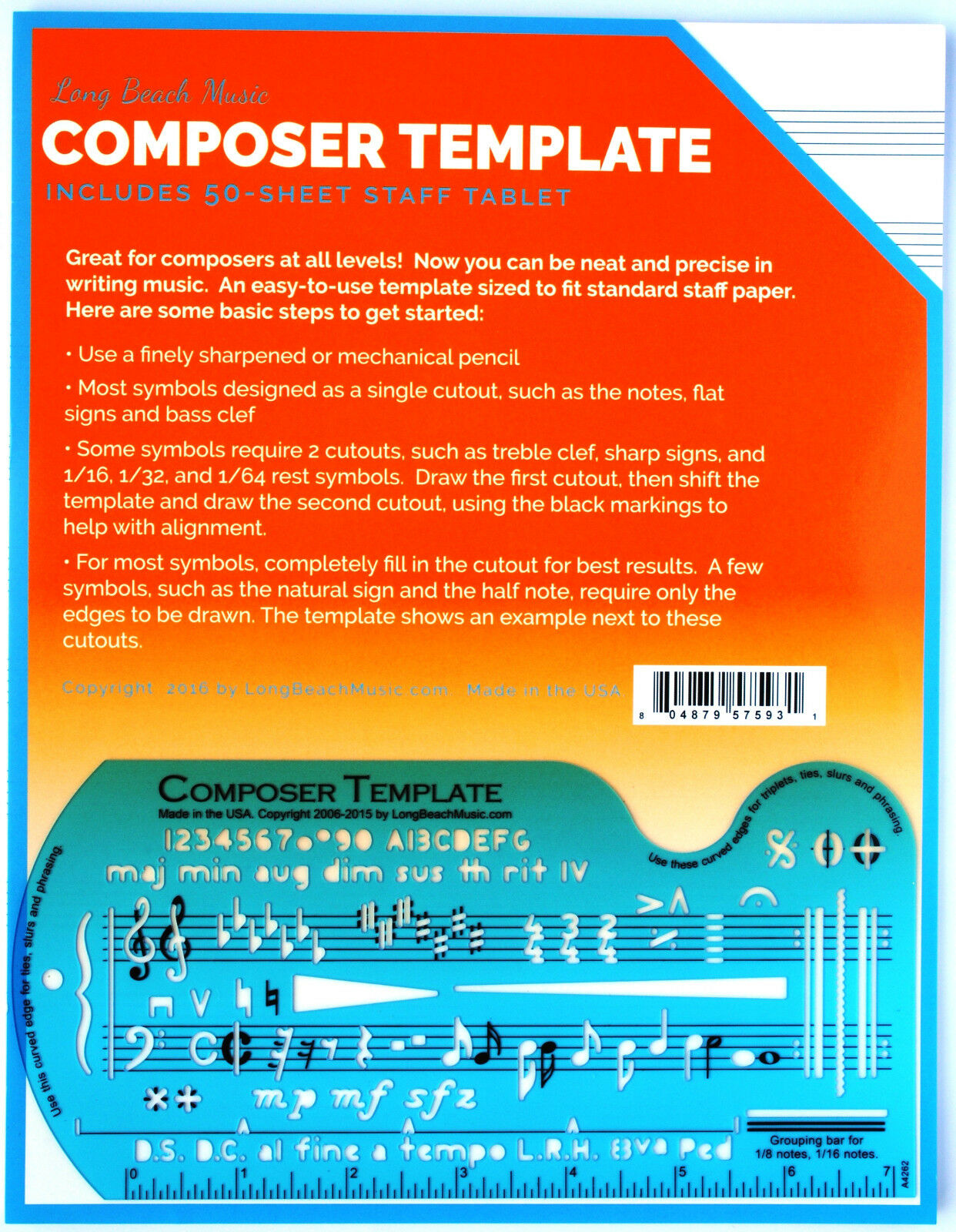 Song Writeru0027s Composing Template For Music Notes U0026 Symbols With Manuscript  Staff | EBay