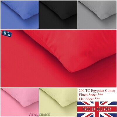 100/% Egyptian Cotton 200TC Fitted Sheets Single 4FT Double King Full Flat Sheets