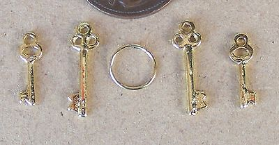 Casa de muñecas en miniatura conjunto de 2 pomos de puerta con llaves 12th Muebles de Puerta de escala