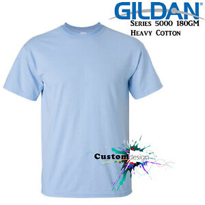 Gildan-T-SHIRT-Light-Blue-Basic-tee-S-M-L-XL-XXL-XXXL-Men-039-s-Heavy-Cotton