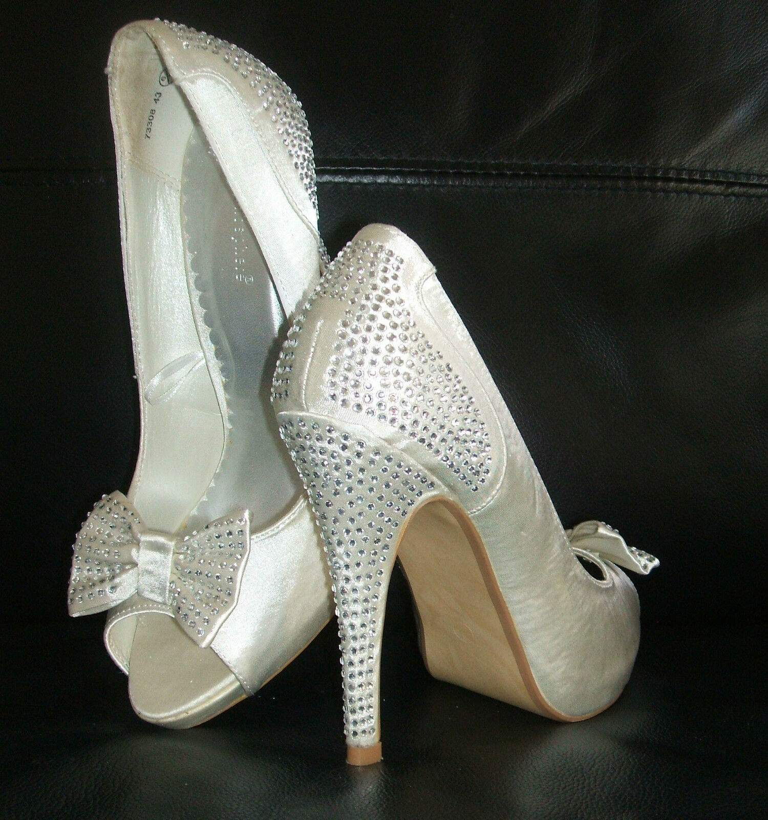 PRIMARK Taille 6 IVORY CREAM SATIN DIAMANTE HIGH HEEL PEEPTOE BRIDAL WEDDING chaussures