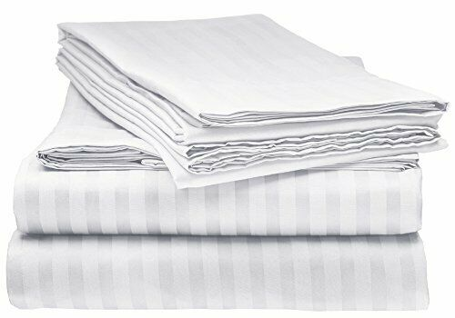 ELEGANTE 1800 Count Egyptian Comfort Striped 4pc Queen Bed Sheet (Queen White)