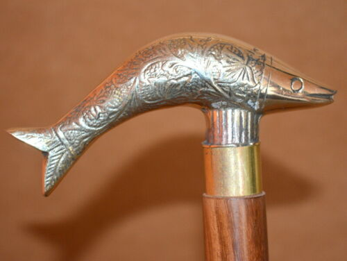 "Brass walking stick fish style handle cane shaft 36/"" wooden stick good gift item"