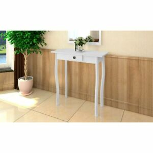 vidaXL-Cottage-Style-Table-White-High-Gloss-Side-End-Plant-Stand-with-Drawer