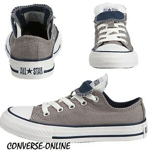 3a0c5e0b1843 KIDS Boys Girl CONVERSE All Star GREY DOUBLE TONGUE Low Trainers ...
