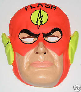Image is loading FLASH-Halloween-Costume-&-MASK-RARE-1960-039- & FLASH Halloween Costume u0026 MASK RARE 1960u0027s Ben Cooper | eBay