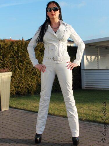 Taglia 32 di Bianco Giacca lucido vinile stile Vinile 58 vernice Biker XS Xxxl Giacca di wFUPH