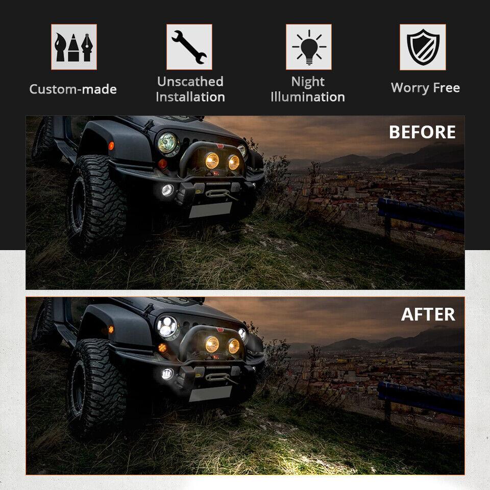 "Pair 7"" Inch Round LED Headlights Halo Angle Eyes For Jeep Wrangler JK LJ TJ CJ 5"
