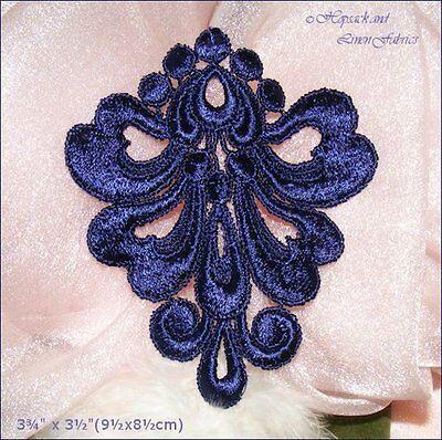 2 PURPLE NAVY BLUE Venise Guipure Lace BODICE APPLIQUE dance dress collar motif