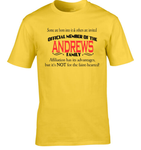 Andrews Family Surname T-Shirt Birthday Gift Any Name Reunion Event Occasion