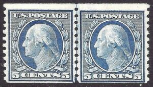 Nice-1917-US-496-MNH-OG-Horizontal-Coil-LINE-PAIR-Perforated-10-Vertically