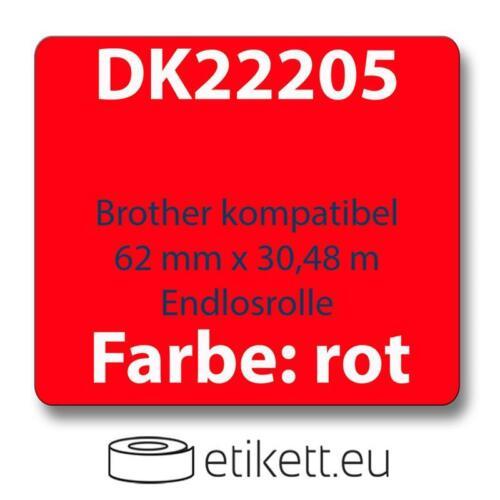 zu Brother DK22205 62 mm x 30,48 m endlos rot grün gelb mit Wechse Label kompat