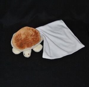 Peluche-doudou-tortue-mouchoir-NATURE-ET-DECOUVERTES-brun-beige-diam-10-cm-TTBE