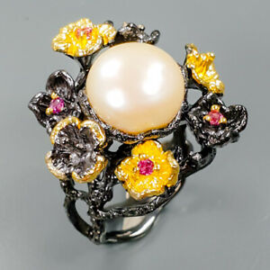 Silver-Gemstone-Design-Natural-Pearl-925-Sterling-Silver-Ring-Size-7-25-R90718