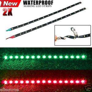 2x-Car-Boat-Navigation-LED-Lighting-RED-amp-GREEN-Waterproof-Marine-LED-Strips-UK