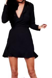 JOHN ZACK BLACK  WRAP FRILL DRESS
