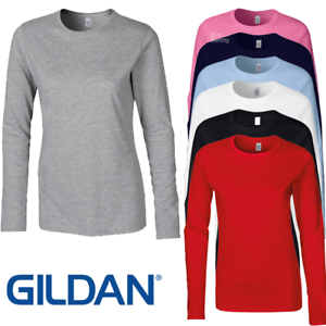 GILDAN-SOFTSYLE-LADIES-LONG-SLEEVE-T-SHIRT-TOP-100-SOFT-COTTON-CASUAL-WOMEN-039-S