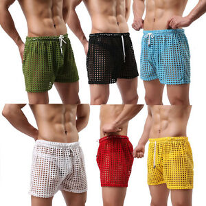Hot Mens Transparent Mesh Sheer See Through Boxer Briefs Shorts Pants Underwear