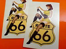 ROUTE 66 & Model Cream Retro Car Bumper Motorhome Stickers Decals 2 off 90mm