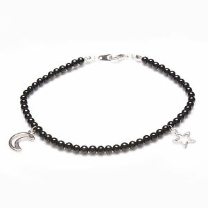 Black Onyx and Tibetan Silver Moon and Star Anklet, Wicca, Pagan, Gothic, Celtic