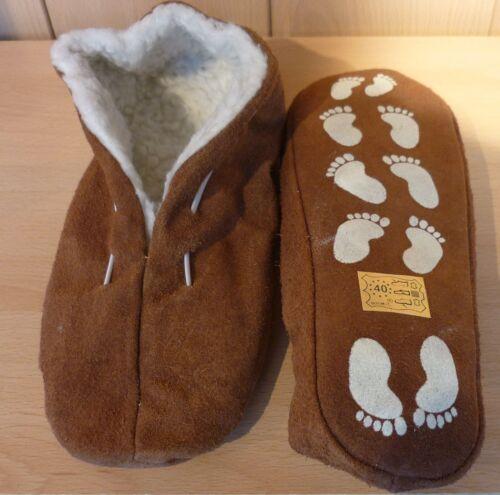 Echt Leder casa zapatos mocasines zapatillas antideslizante en marrón GR sch44 35-52