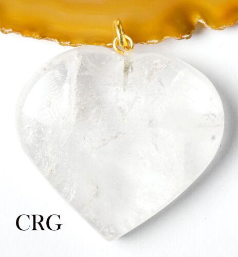 "Clear Quartz Heart Pendant w// Gold Plated Bail 1/""-1.5/"" HRT14DG-G"