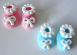 96 PINK Icing Baby Bootie Cupcake Toppers Decorations Shower Cakes Christening