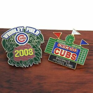Chicago-Cubs-Wrigley-Field-Hat-Pin-Tie-Tac-Baseball-Stadium-Lot-Of-2