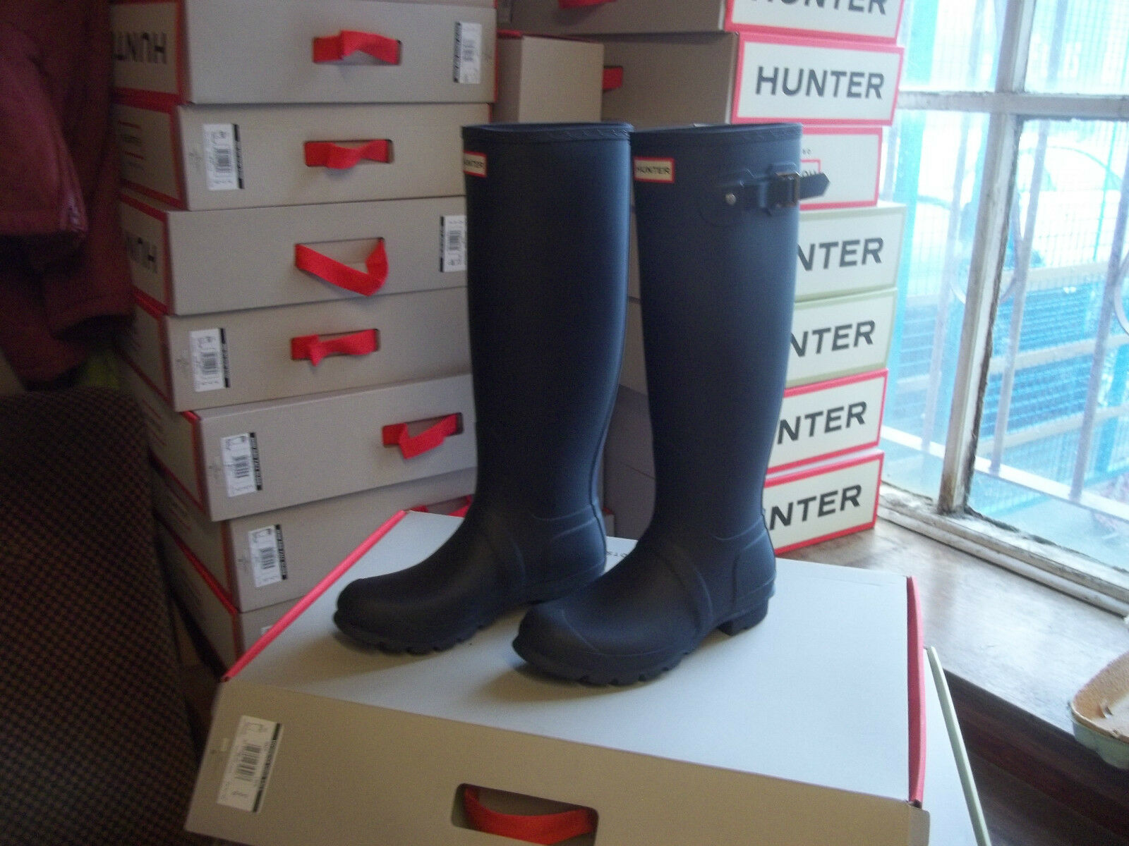 HUNTER WELLINGTONS IN HALIFAX AND NAVY BRADFORD  SIZE 6 NAVY AND ORIGINAL TALL Damenschuhe c23976