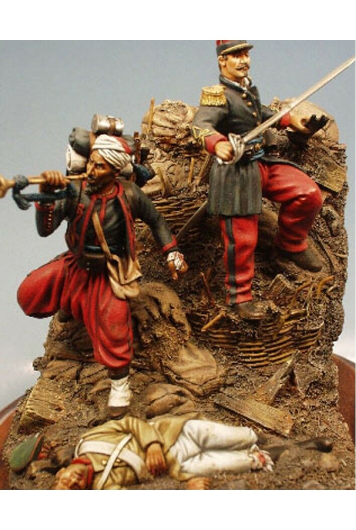 French Zouaves at Siege of Sevastopol Crimean War Tin Painted Toy Soldier   Art