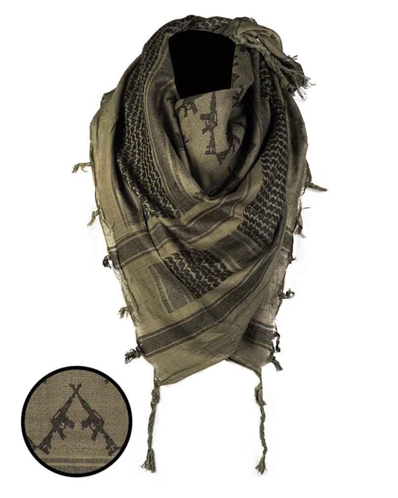 MIL-TEC Halstuch /'Shemagh/' 110x110 cm Oliv//Schwarz US Kopftuch Schal Baumwolle