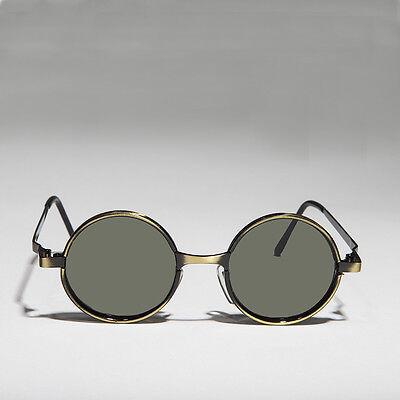 Round Metal Hippie Vintage Steampunk Sunglasses Bronze/Green Lens -Merlin