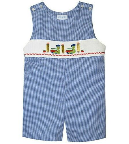 Boys VIVE LA FETE smocked school romper 4T NWT blue white apple pencil book