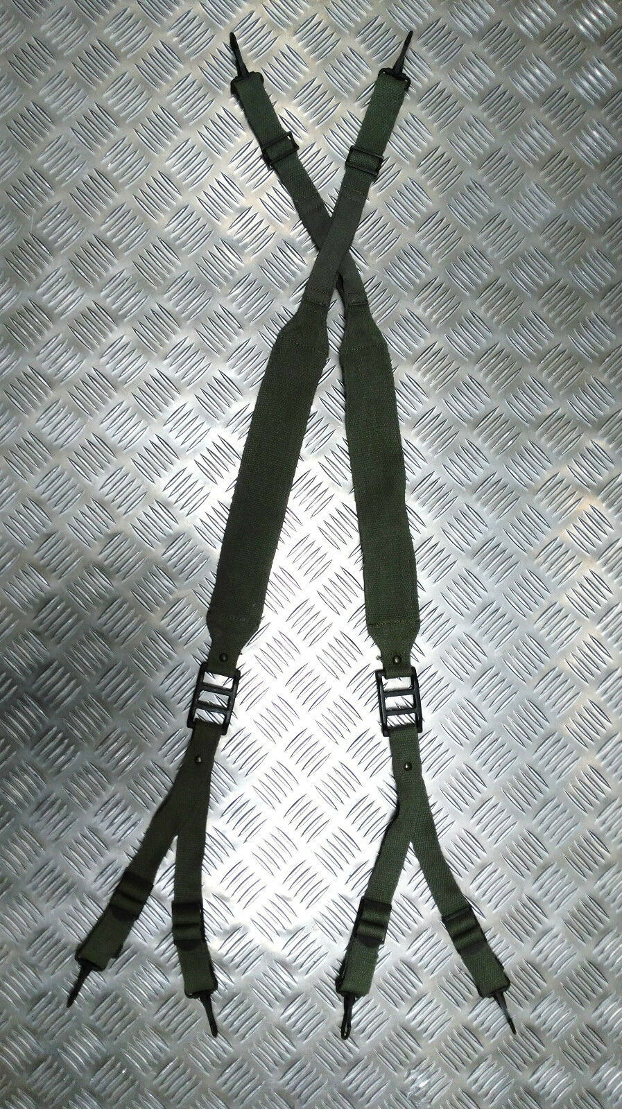 Original Military Ausgabe Grün Web Joch / Strumpfhalter / Bandage 6 Punkt Band -
