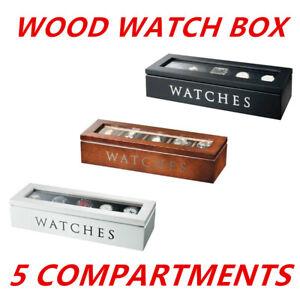 5-Grids-Slots-Wooden-Watch-Display-Box-Storage-Case-Gift-Jewellery-Organizer