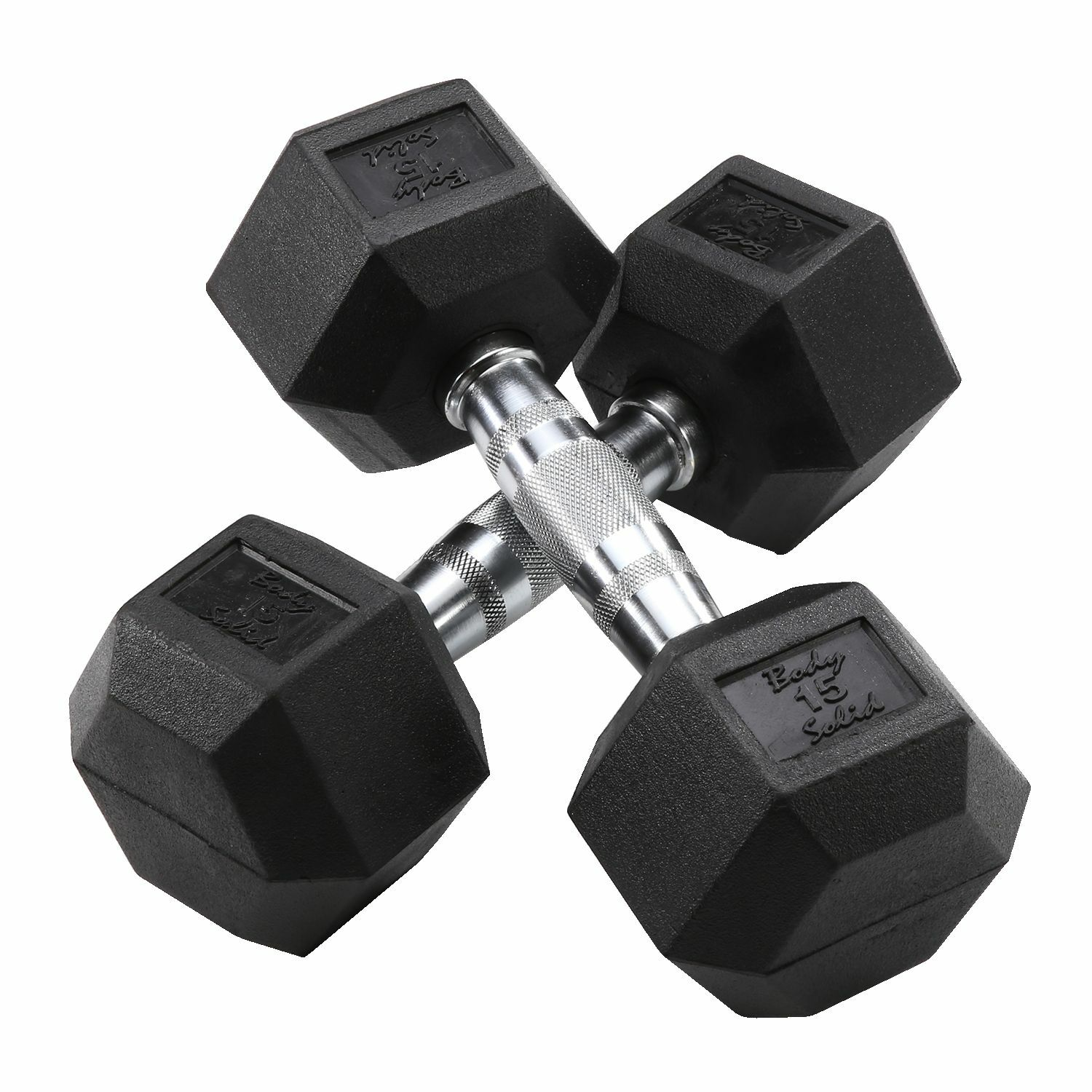 15 lb. Rubber Coated  Dumbbell Pair, Body-Solid SDR15  no.1 online