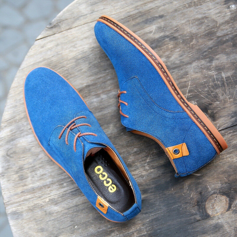 11761f531a4 New Mens Boys Faux Suede Lace Up Casual Loafer Flats Party Dress formal  shoes