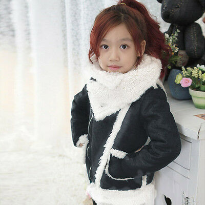 Kids Toddlers Girls Boys Lapel Full Fleece Lined Jacket Outerwear Coat 2-7T S407