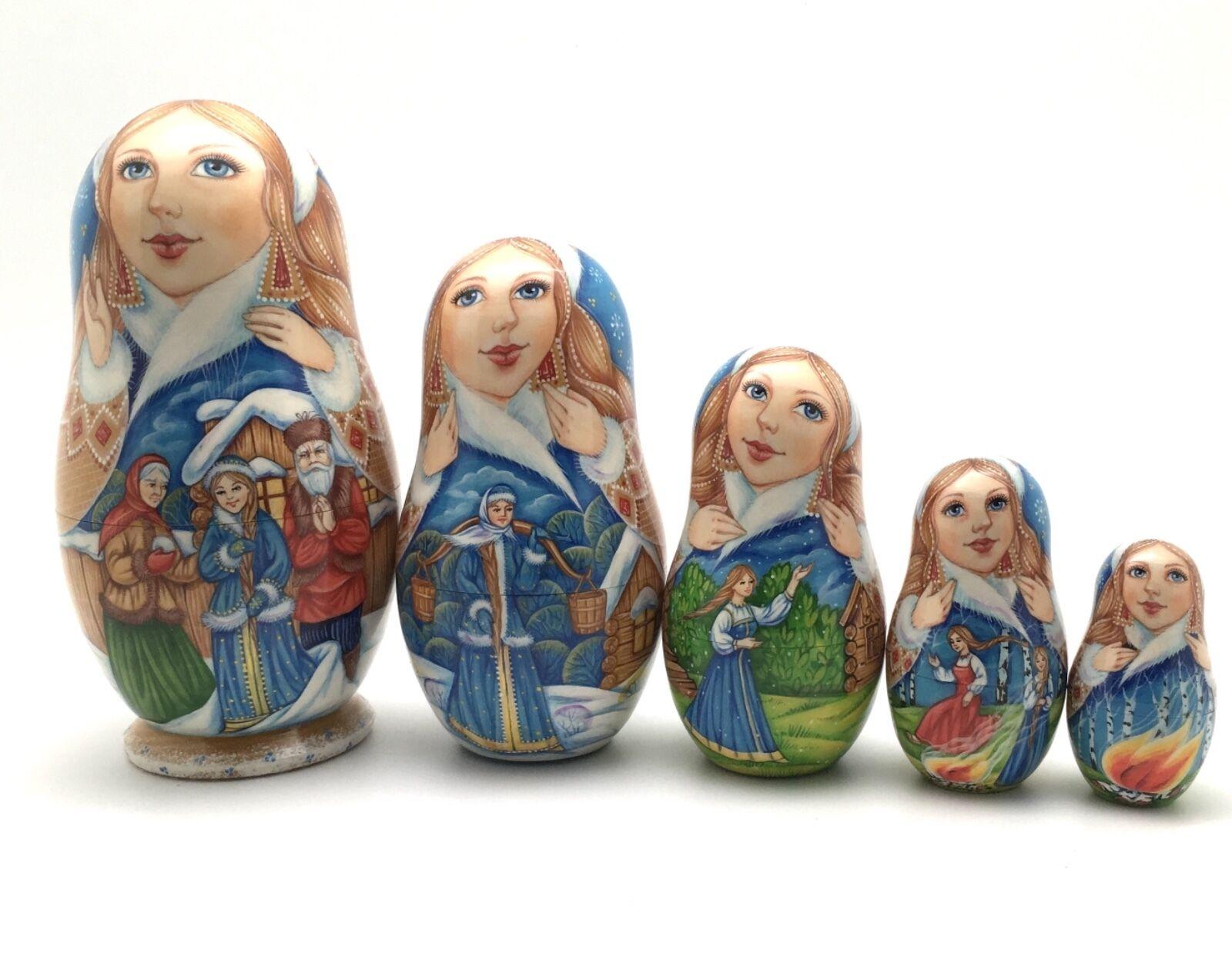 Russian Fairy Tale Snow Maiden Nesting Doll Main sculpté peint à la main signé
