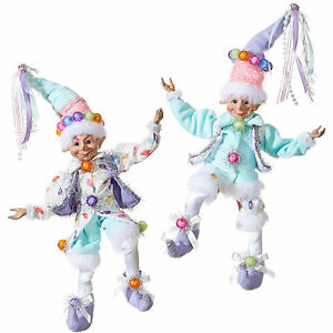 Set-2-RAZ-Imports-9-034-Pastel-Gumdrop-Candy-Shelf-Elf-Retro-Vntg-Christmas-Decor