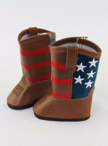 """American Flag Cowboy Boots Fits 18/"""" American Girl Doll Clothes Shoes"""