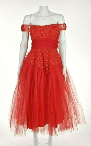 Classic 1950s Red Tulle Prom Party Dress SZ XS 00-