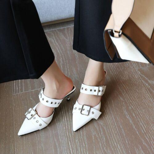 Women/'s Plus Size Pointy Toes Mules Buckle Slingback Kitten Slim Heels Hollow UK